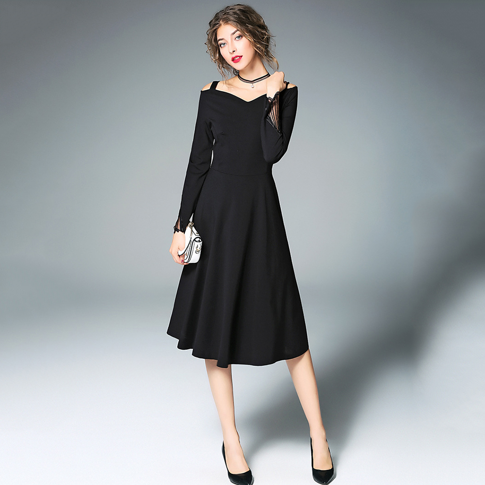 466fdcbf3ab7 Aliexpress.com   Buy Women s Vintage Off Shoulder Runway Dress Retro  Hepburn Style Long Sleeve Slash Neck Midi Swing Party Dresses 2018 New  AuraPicco from ...