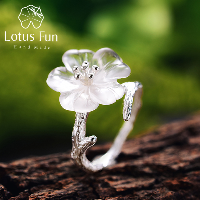 Lotus Fun 925 Sterling Silver Rings for Women Natural Handmade Fine Jewelry Flower in the Rain Open Engagement Ring for FemaleLotus Fun 925 Sterling Silver Rings for Women Natural Handmade Fine Jewelry Flower in the Rain Open Engagement Ring for Female