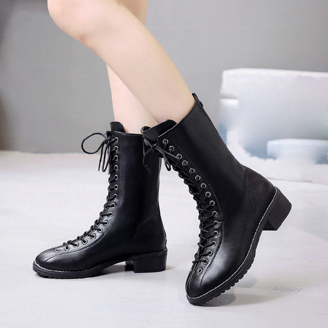 Bayan botları kadın orta buzağı Perçin Ayakkabı Deri Orta Çizme Platformu Yuvarlak Ayak Dantel-up Martin kış çizmeler kadın düz # g10
