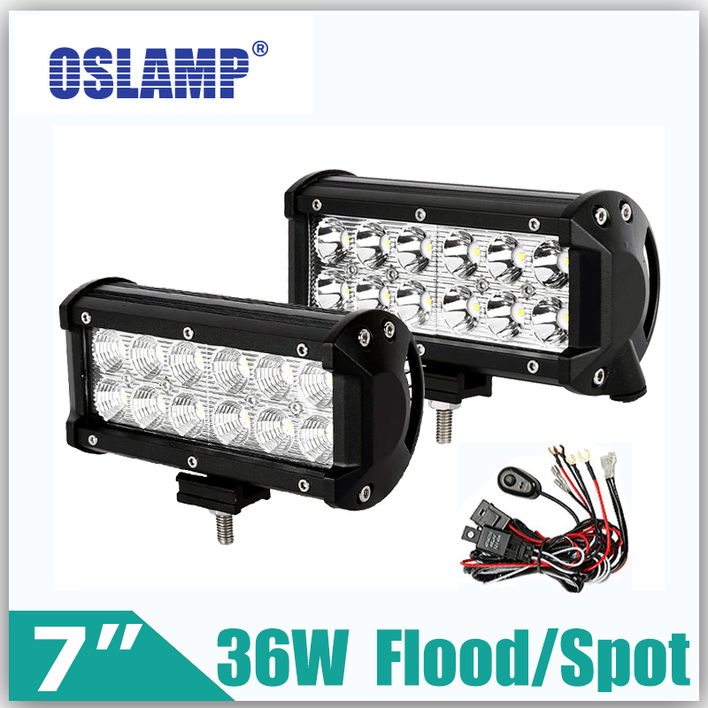 ФОТО Oslamp 36W 7inch Reflection Cup CREE Chips Led Work Lights OffRoad Driving Light Spot/Flood 12v 24v ATV Piackup RZR Boat SUV Car
