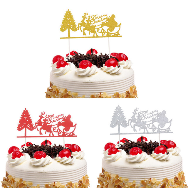 Christmas Cake Toppers.Us 0 88 10 Off Christmas Red Cake Toppers Flags Santa Claus Elk Merry Christmas Cake Topper Glittler Tree Party Cake Baking Decor Xmas In Cake