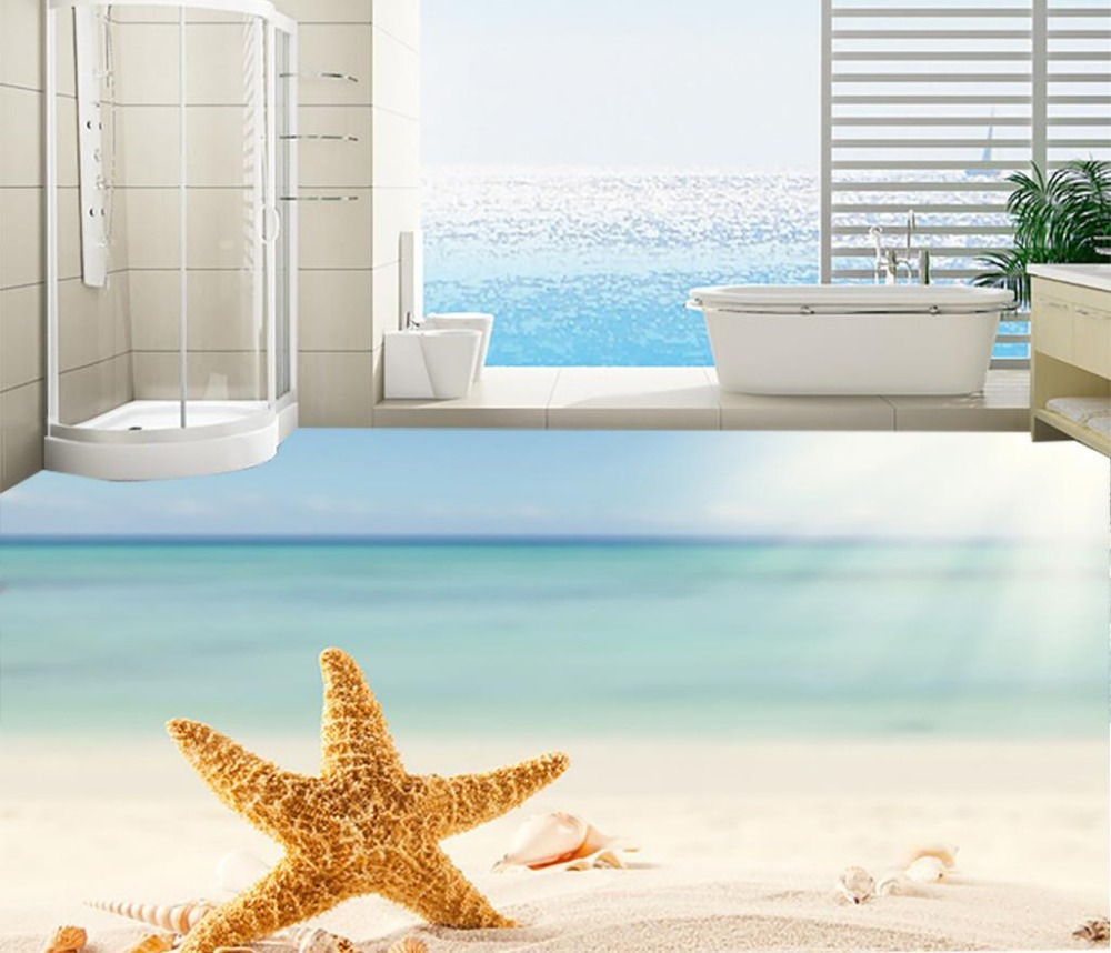 Beach 3D wall murals wallpaper floor Custom Photo self-adhesive 3D floor PVC waterproof floor Home Decoration