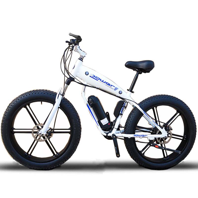 Custom 26inch Fat tire ebike 500W 48V Li-ion snow electric mountain bicycle Hydraulic disc brake front fork shock max speed 35
