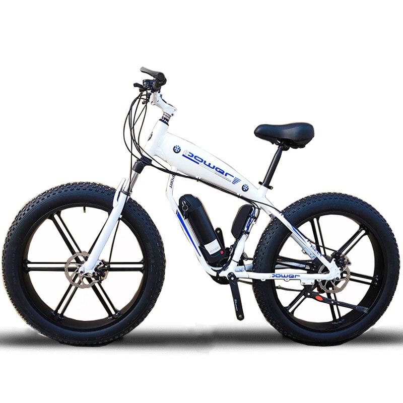 Personnalisé 26 pouces Fat tire ebike 500 w 48 v Li-ion neige électrique vélo de montagne frein à disque Hydraulique avant fourche choc max vitesse 35