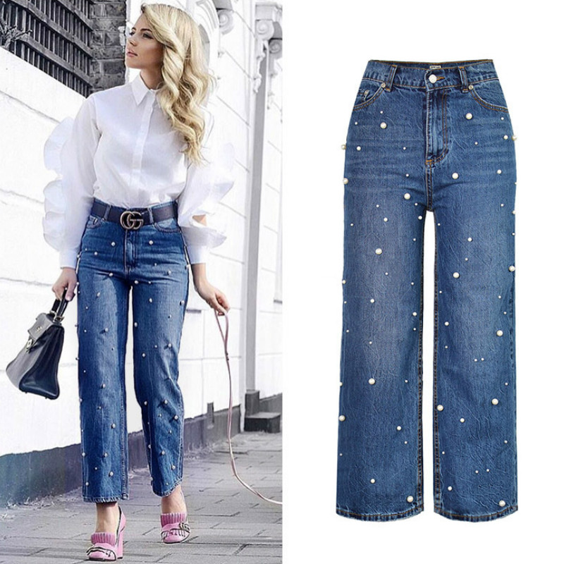 Loose Embroidered Flares Wide Leg Pants Women High Waist Fashion Pearl Nail Bead Jeans Femme Personality Vintage Retro Trousers 2017 spring new embroidered jeans color embroidered national wind low waist jeans trousers