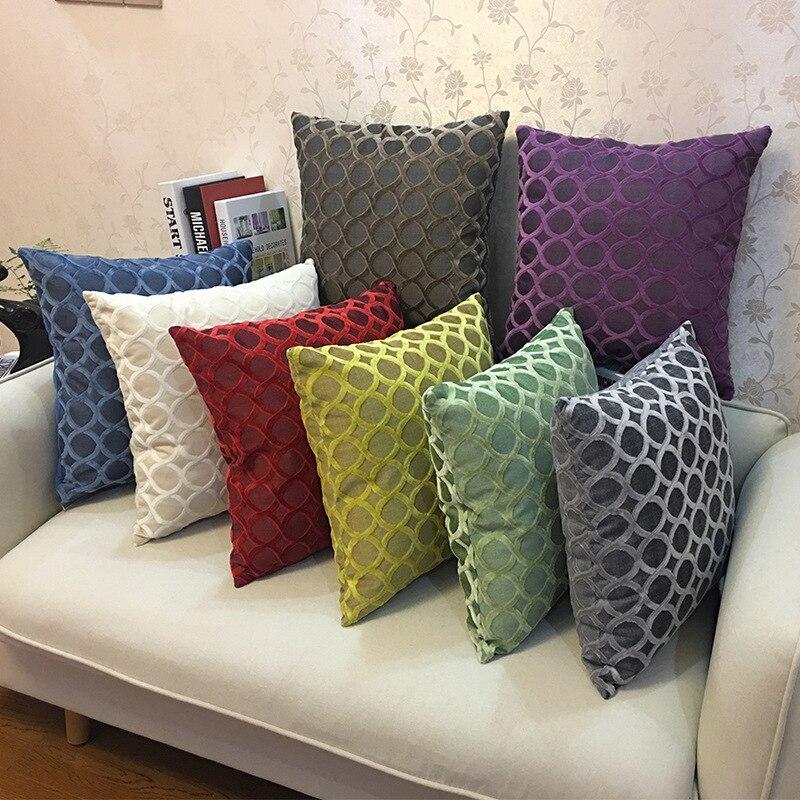 Домашние Декоративные диванные подушки, фланелевые Чехлы для диванных подушек, одноцветные наволочки, наволочки Наволочка      АлиЭкспресс