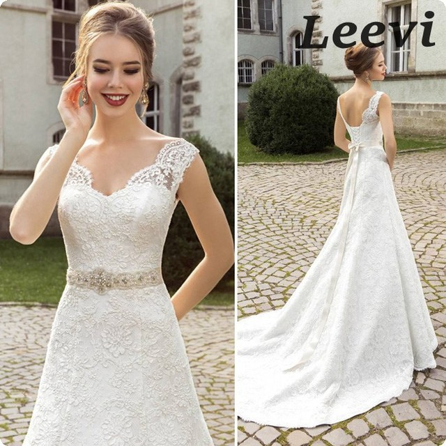Vintage Style Lace Wedding Dresses: Ivory /White V Neck Sexy Vintage Lace Wedding Dresses Belt