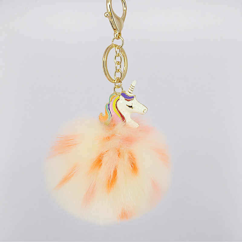 Colorful Puffy Ball Cute Unicorn KeyChain Pokemon Handmade Bags Key Ring Pendant Jewelry Ornament Fluffy Pom Pom Gift Keychain in Key Chains from Jewelry Accessories
