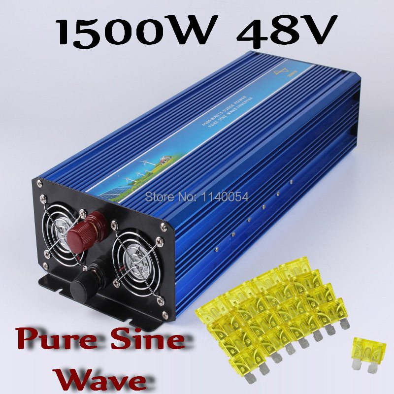 1500W inverter 48V DC to AC 110V 120V or 220V 230V 240V, Pure Sine Wave Solar Wind Power Inverter 1500W with 3000W Peak Power