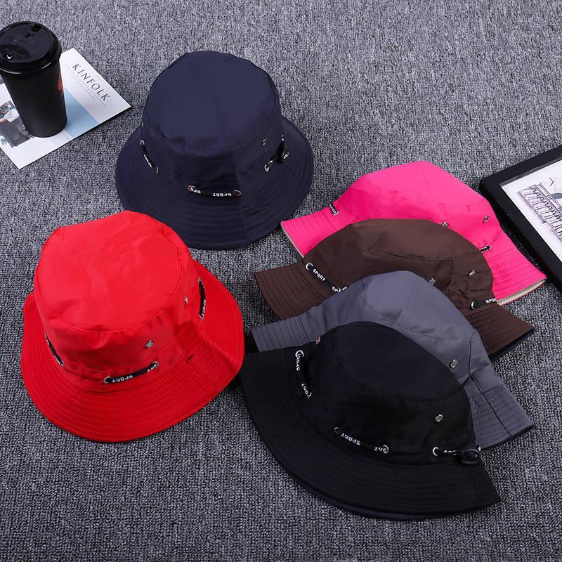 2019 Adjustable Cord Buckle Bucket Hat Fisherman Hat Outdoor Travel Hat Sun Cap Hats For Men And Women 249