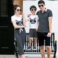 2016 одежды семьи комплект соответствующие мать и дочь сын комплект хлопка с коротким рукавом отец футболки мода полосатый мать юбка