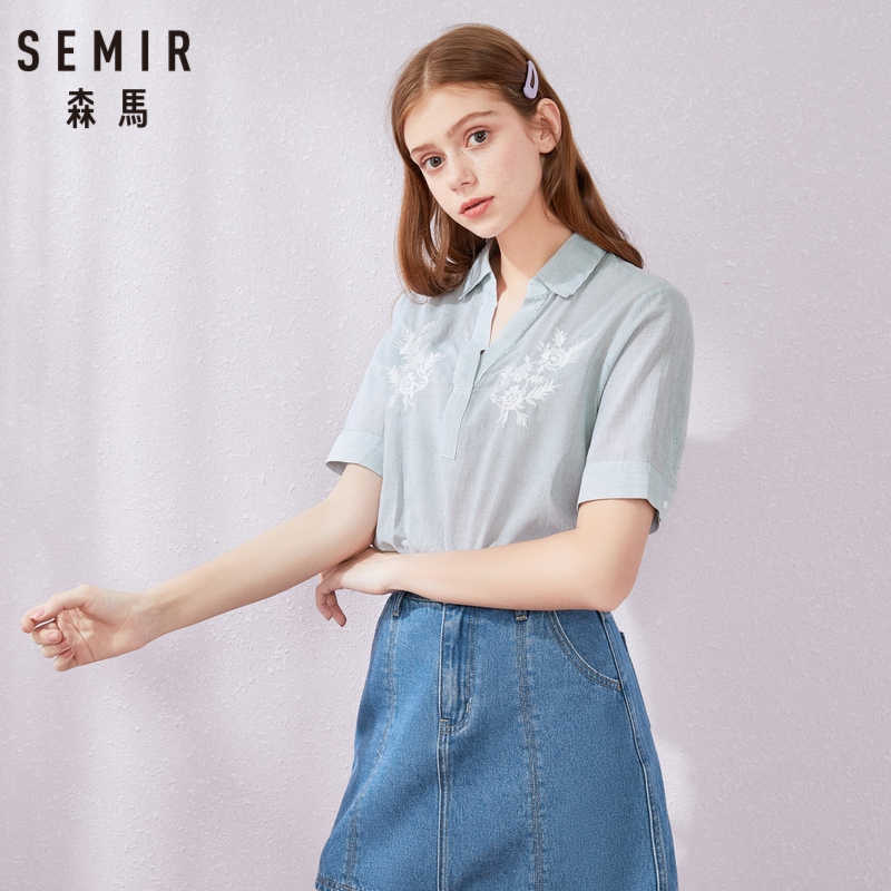 SEMIR Short sleeve blouse women 100% cotton soft shirt 2019 summer new V-neck striped sexy shirt for beauty woman