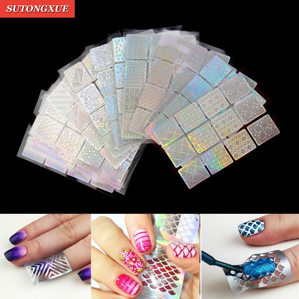 Nail Art Hollow Stencil Guide Sticker Set Gel Polish French Nails Stamp Vinyl DIY Image Foil Transfer Strip Template Form Decals 06 39 mixed styles nails tips polish printing beauty decals multipurpose nail art hollow template stickers makeup stencil tool