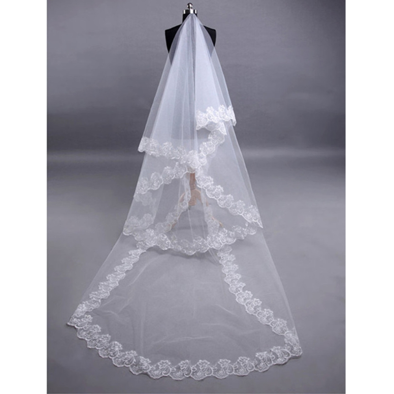 2.7m Bridal Veil Voile Mariage Lace Veil Long Veil Wedding Accessories