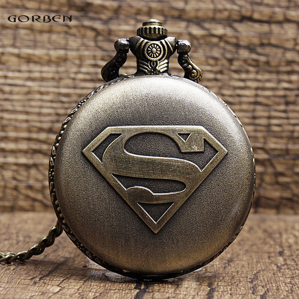Gorben Brand Fashion Superman LOGO Quartz Vintage Bronze Pocket Watch With Necklace Pendant For Men Boys Children Gifts