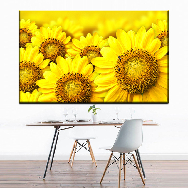 ZZ1276 beautiful canvas wall art wonderful sunflower canvas pictures ...