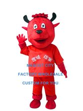 Custom red devil cow mascot costume wholesale for adult man anime cartoon AD cheap costumes carnival fancy dress suit 3425