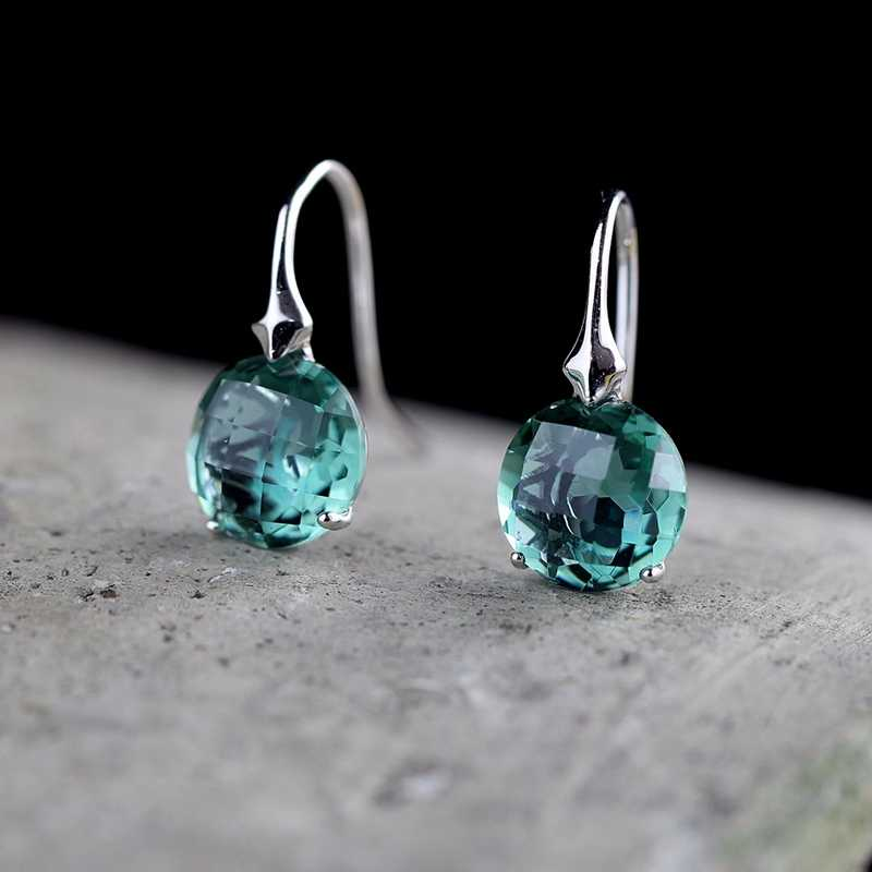 925 sterling silver natural crystal earrings silver Cutting round handmade natural green crystal for women fine jewelry charms