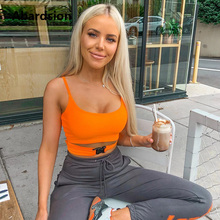 Abardsion Neon Color Crop Top Sexy Women Sleeveless Summer Tops 2019 Green Orange Skinny Camis Cropped Ladies Low Cut Buckle Top