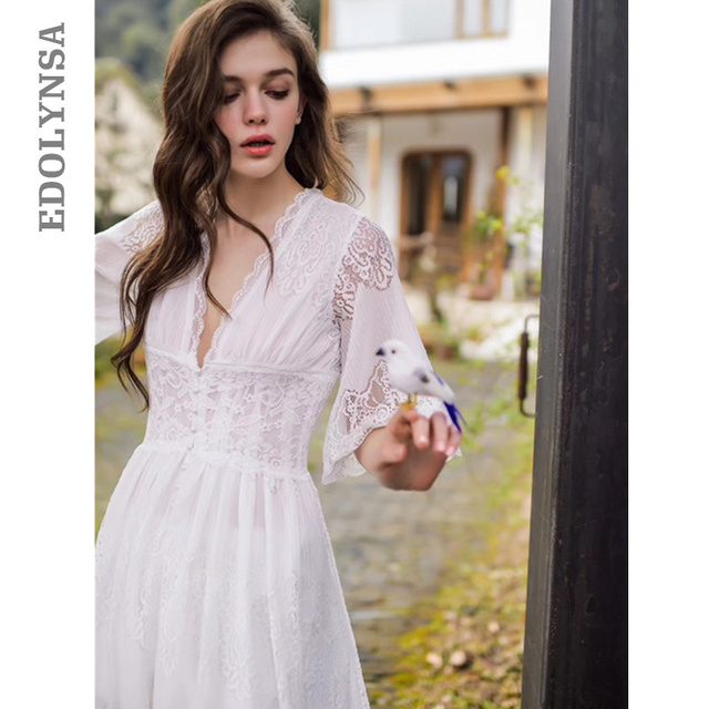 928fe8d68d Plus Size Sleepwear Front Open Deep V Neck Sexy Lace Home Wear Night Dress  Vintage Nightgown