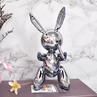 Personality Electroplate Abstraction Nordic Jeff Koons Balloon Rabbit Animal Sculpture Craftwork Home Bedroom Ornaments X1643