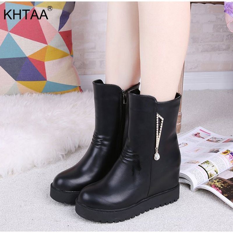 Women Casual Flat Platform Winter Boots Female Zipper Crystal Creepers Short Plush Snow Boots 2018 New Height Increasing Shoes