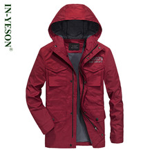 IN-YESON Brand jaqueta masculina Military Thick Warm Fleece Liner Windbreaker Men's Jacket Pockets Casual Autumn Trench Coat Men