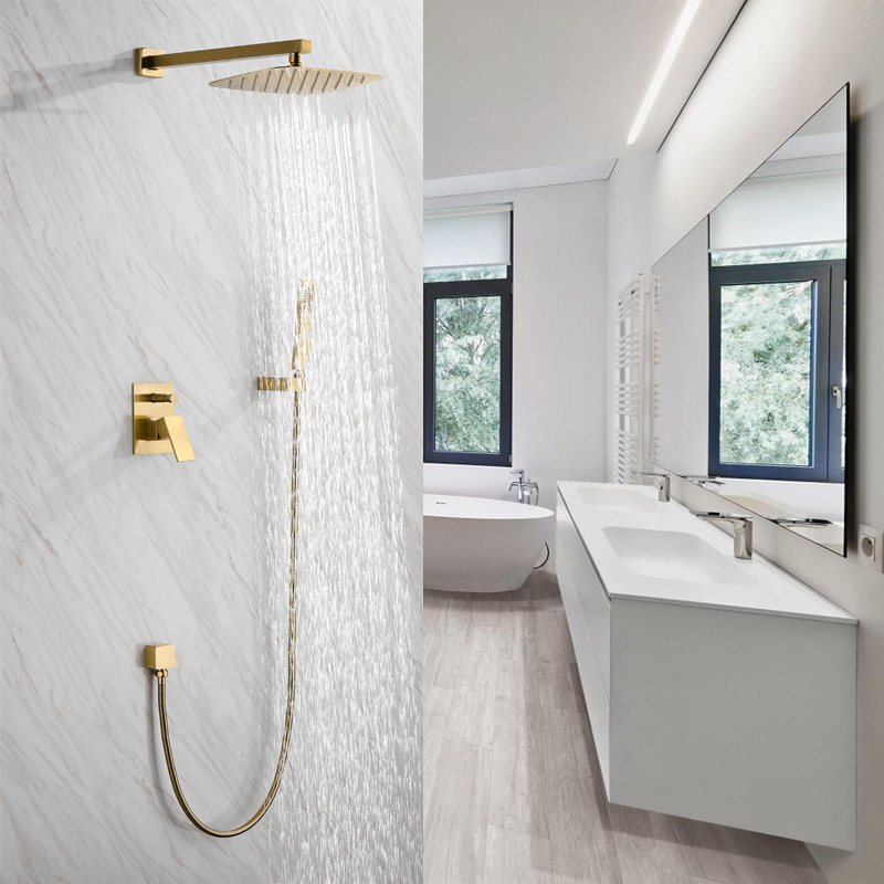 Chaud et froid intégré dans caché, système de douche de salle de bains, ensemble de douche en laiton brossé or, mural foncé,