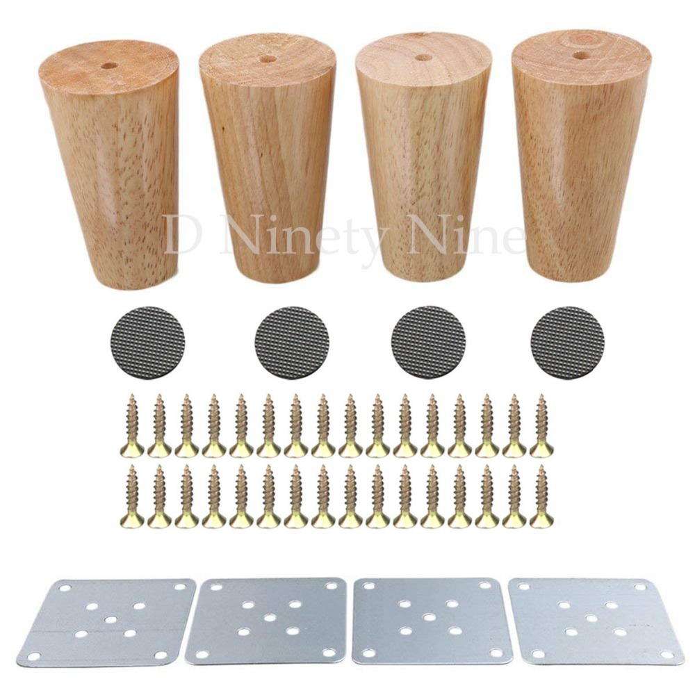 Natural Wood Reliable 100x58x38mm Wood Furniture Leg Cone Shaped Wooden Feet For Cabinets Soft Table Set Of 4