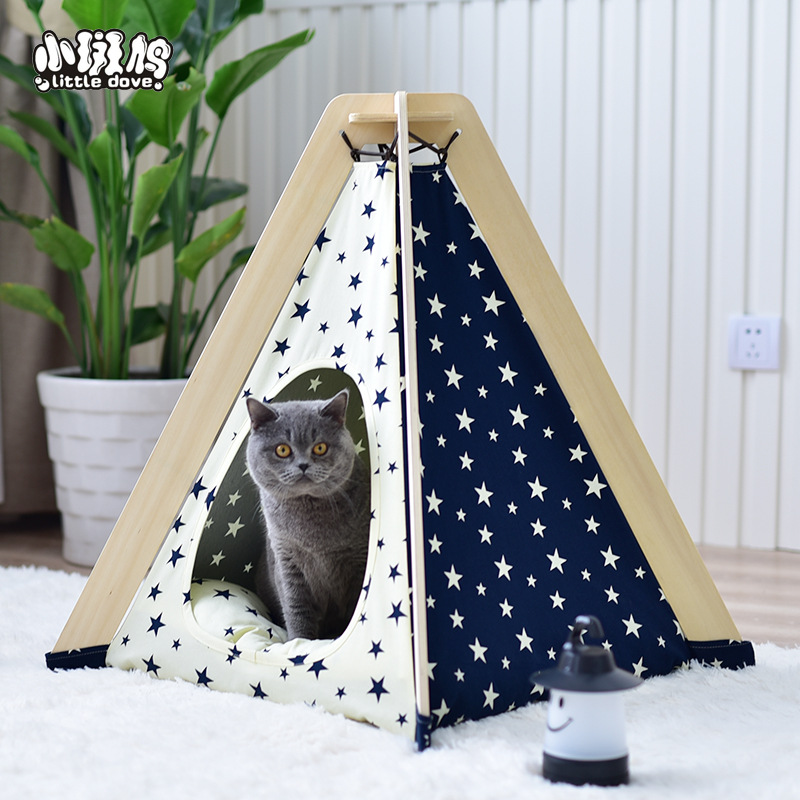 Folding pet cave house indian tent cotton canvas tipi dogs cats bed room cage kennel wooden teepee for animals nest hot sale indian wood tent teepee tents for sale for sale teepee tent for party