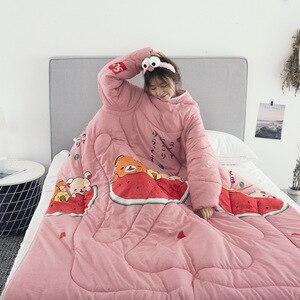 Image 5 - 19 Stijlen Voorraden Winter Lui Quilt Met Mouwen Familie Deken Cape Mantel Dutje Deken Slaapzaal Mantel Bedekt Deken