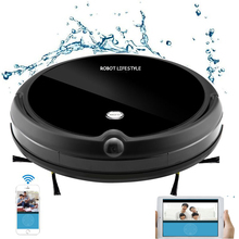 Camera Video Monitor Robot Vacuum Cleaner Wet and Dry Cleaning With Map Navigation, WiFi App Control,Smart Memory,Water Tank 2018 wet and dry household cleaning wifi app remote control 330c auto recharge robot vacuum cleaner washing clean free shipping