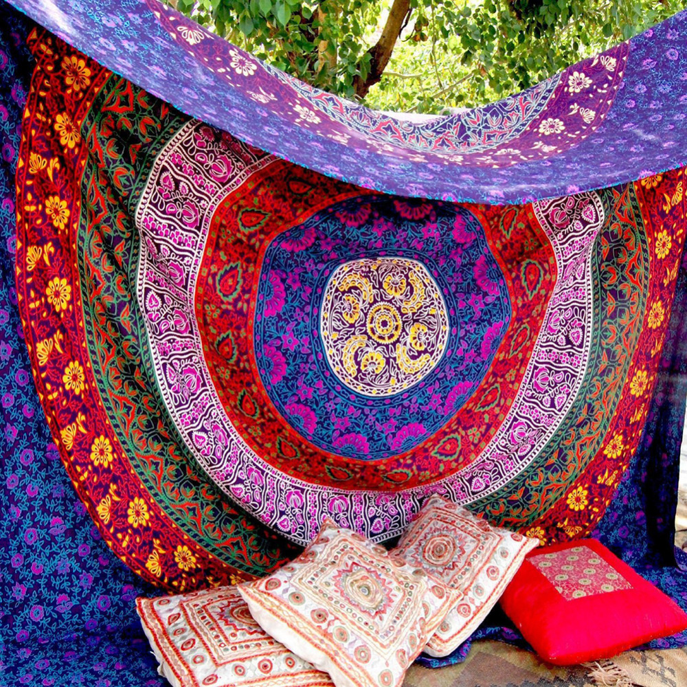 CAMMITEVER 3 Sizes Mandala Indian Bohemian Tapestry Wall Hanging Beach Towel Polyester Thin Blanket Yoga Shawl Mat-in Blankets from Home & Garden
