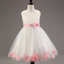 2016 Real New Girl Dress Summer High-grade Wedding Dresses Children Embroidered Party Dresse Bridesmaid Kids Clothes 100-140cm
