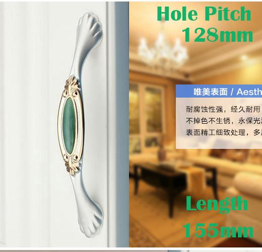 """C: C: 128mm 5.04 """"de Comprimento 155mm 6.10"""" Jade verde de luxo mobiliário alça de cristal gaveta lidar com"""