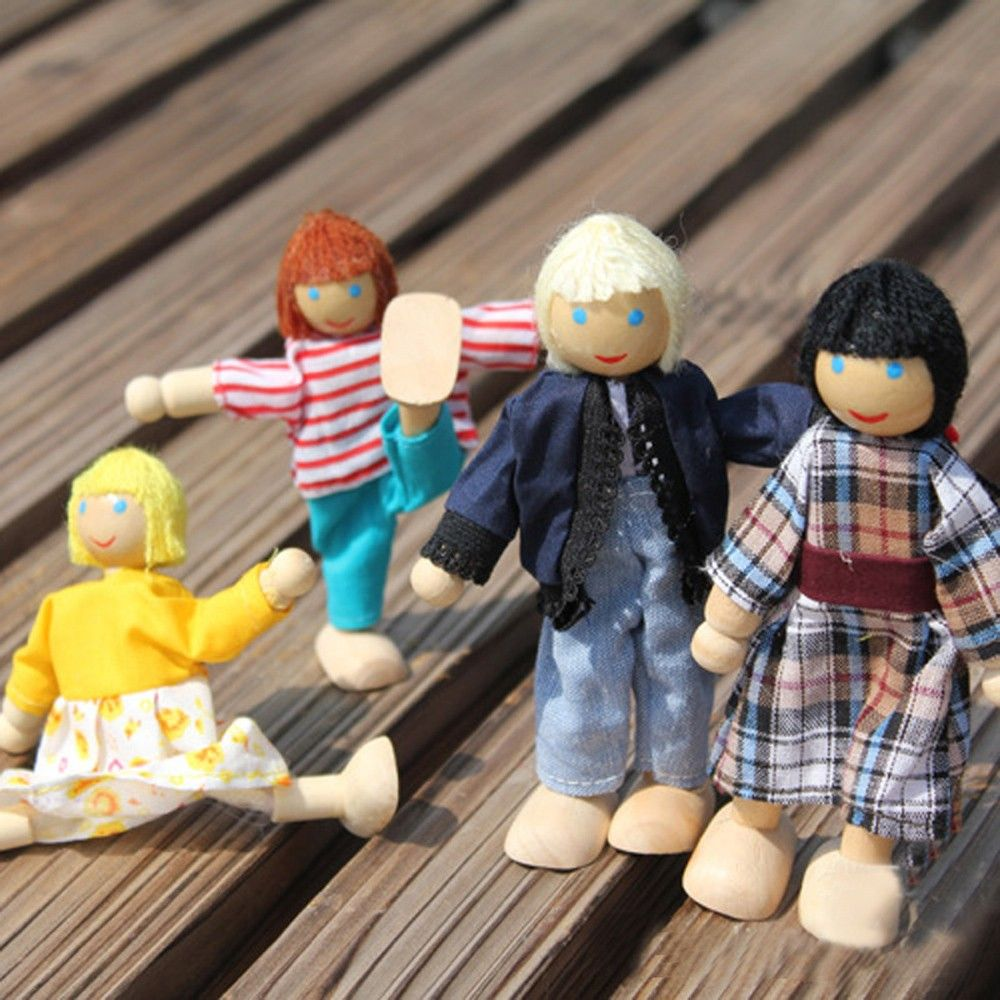 4Pcs Family Of Four Family Dolls Family Wooden Dolls Puzzle Baby Dolls Popular Parent-child Activities Joint Children's Gifts