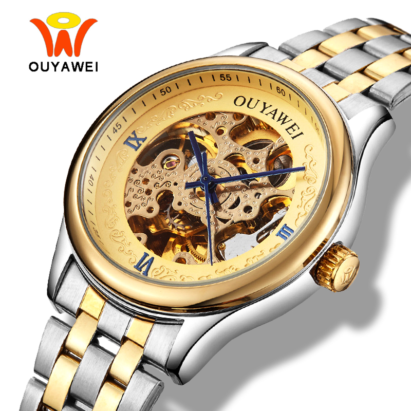 Ouyawei Skeleton Gold Automatic Self Wind Watch Men luxury Gold Silver Metal Mechanical Transparent Wrist Watches For Man ouyawei 1039 bg men s casual skeleton auto mechanical wrist watch black golden