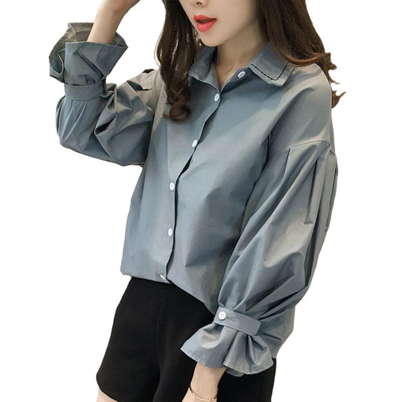 6548cf15fef3 Blusa de otoño para mujer estilo coreano talla grande suelta cuello vuelto  camisa 2019 Color ...