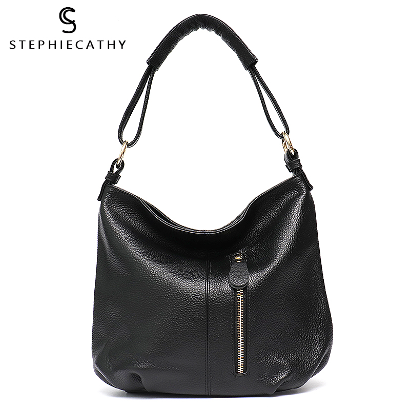 SC Genuine Luxury Leather Bags for Women 2018 Female Bucket Crossbody Zipper Bag High Quality Cowhide
