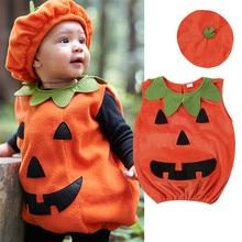 Детские топы с тыквой на Хэллоуин для маленьких мальчиков и девочек, комбинезон, шляпа, наряд вечерние костюмы на Хэллоуин, нарядный Детский костюм-комбинезон, одежда оранжевого цвета, От 0 до 3 лет