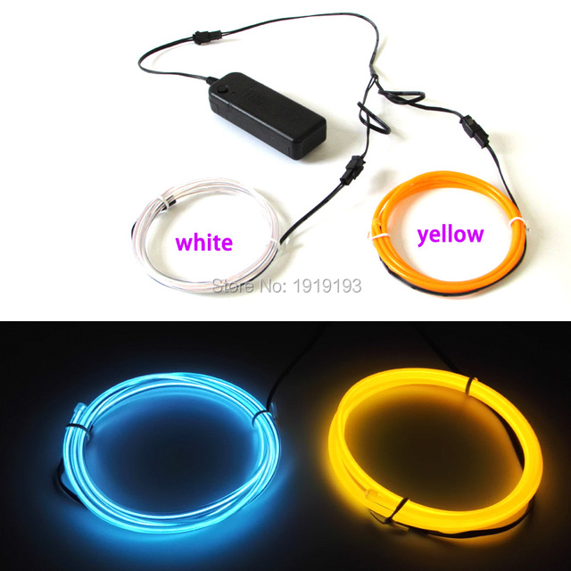Flashing 3.2mm 1Meter x 2PCS Multicolor Flexible EL Wire Rope Tube ...