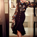 Original 2016 Brand Dress for Women Autumn Winter Plus Size Deep V Collar Elegant Vintage Long Mermaid Party Dresses Wholesale