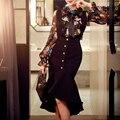 Original 2016 Vestido de Marca para As Mulheres Outono Inverno Plus Size Profunda V Colar Elegante Do Vintage Longo Sereia Vestidos de Festa Por Atacado