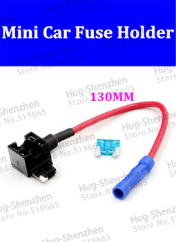 High quality 50pcs 130mm 16AWG  mini car fuse holder for Carcorder with fuse
