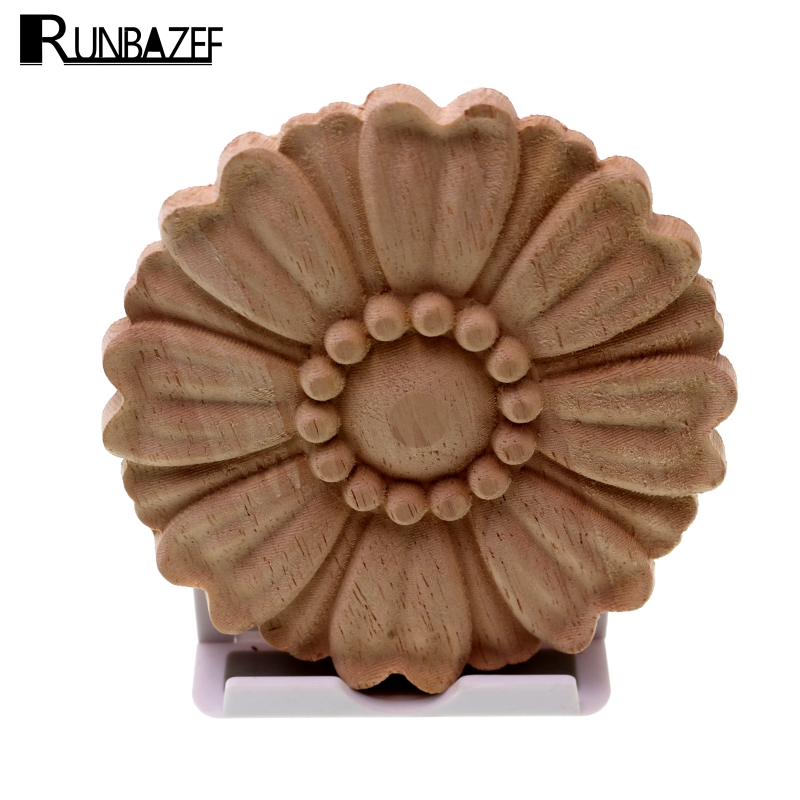 RUNBAZEF Boutique Lots Wood Carved Long Onlay Applique Unpainted Flower Walls Cabinets Door Vintage Home Decor Type Kawaii Craft