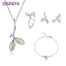 DISINIYA  Genuine 925 Sterling Silver Tree Leaves Buds Green Enamel Jewelry Sets for Women ZHS070