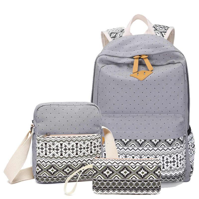 992389edfb6c ... Точка печати холст рюкзак Для женщин школы назад сумки для девочек- подростков милые черные набор ...