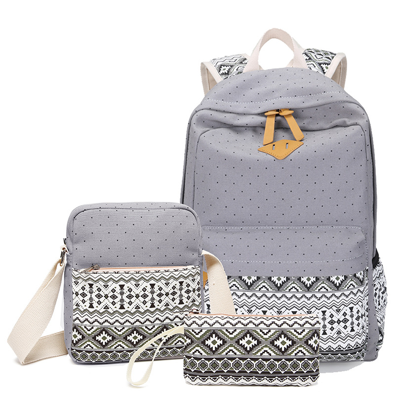 Dot Canvas Printing Backpack Women School Back Bags For Teenage Girls Cute Black Set Travel Backpacks Female Bagpack Rucksack #5