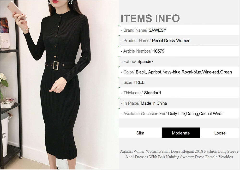 a56a2758d72 Bodycon Knitted Dress Spring 2018 New Fashion Long Sleeve Pencil Dresses  Women Single Buttons Slim Casual Midi Dress Red Black