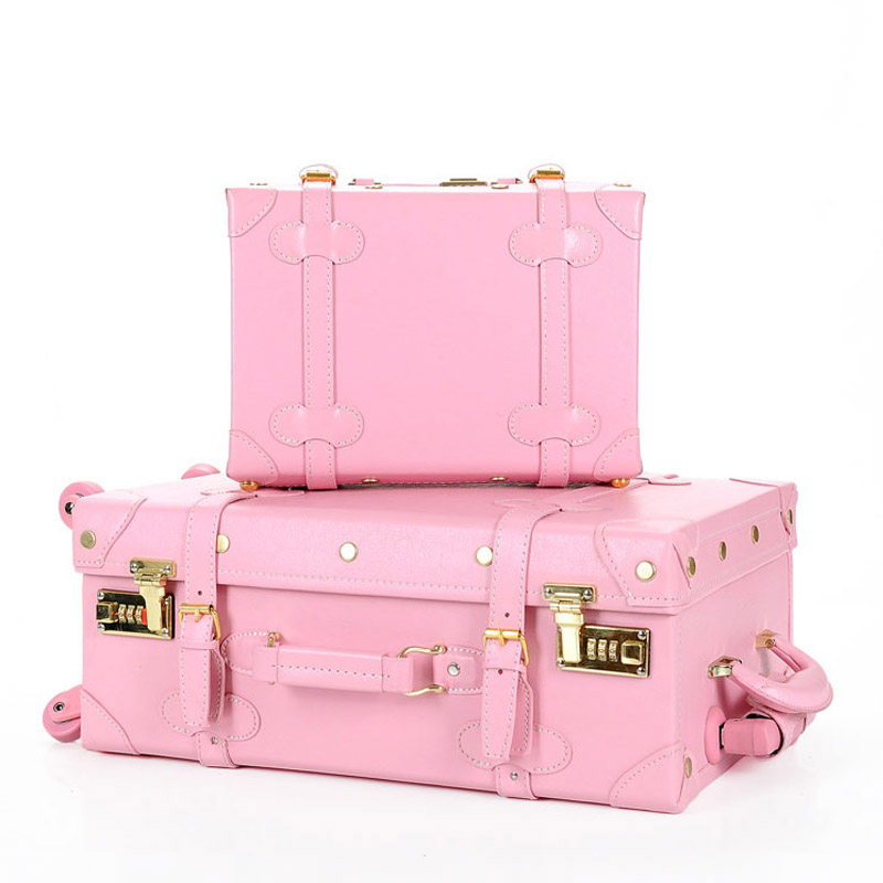 Fashion!Lovely girl pu leather travel luggage set,full pink vintage trolley luggage for female,wonderful retro gift for wife
